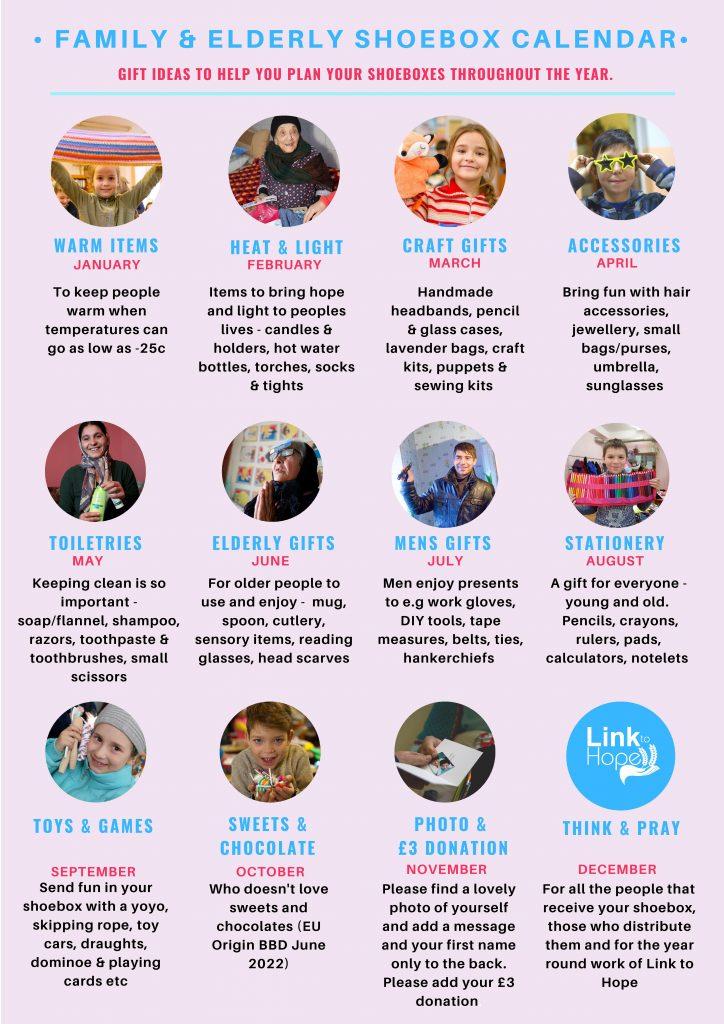 Link to Hope Shoebox Appeal Calendar